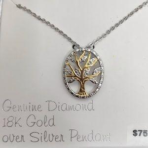 "NWT Family tree 18"" pendant necklace w/ diamonds"